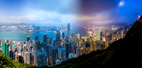 A blended image of Hong Kong harbour from the Peak, showing the day-time and night-time aspects of this vibrant Asian city.