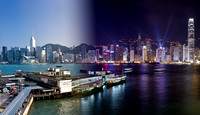 A blended image of Hong Kong island and harbour with the famous Star Ferry terminal, showing the day-time and night-time aspects of this vibrant Asian city.