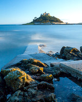 A long exposure of the coast and St. Michael's Mount at sunset, Marazion, Cornwall. August 2014.